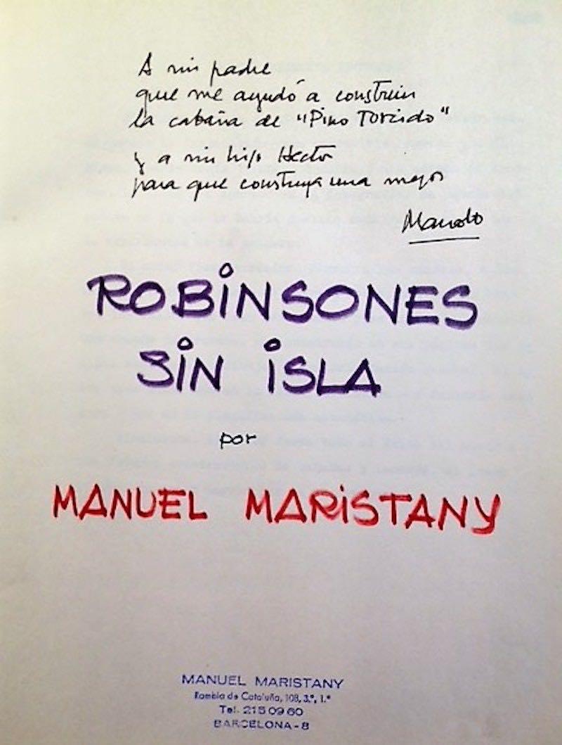"Dedicatoria ""Robinsones sin Isla"""